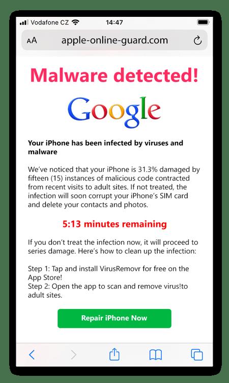 Una notificación emergente de limpiador móvil de scareware diseñada para parecerse a una alerta de virus de Google auténtica.