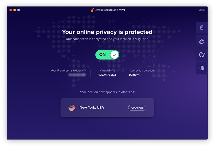 Screenshot of Avast SecureLine VPN's main window, with the VPN turned on