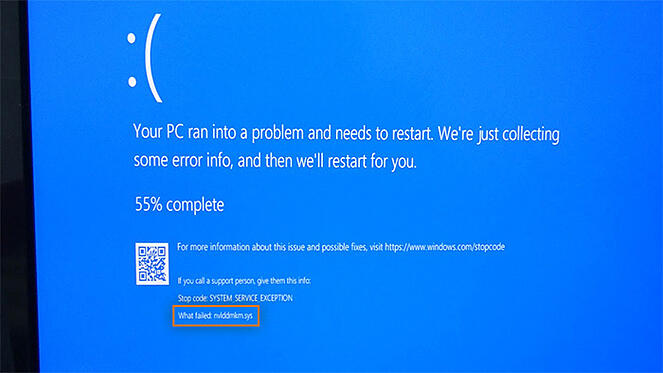 An example of a Windows stop error screen caused by a driver malfunction