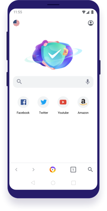 Avast Secure Browser for Android with search bar and new tab icons.