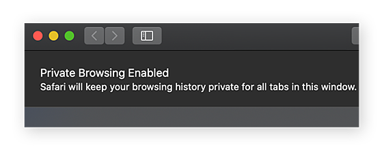 A Private Browsing window in Safari for macOS
