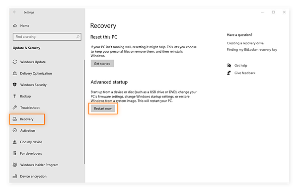 Selecting the Restart Now button in the Recovery settings of Windows 10.