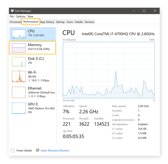 Viewing CPU specs in Windows Task Manager in Windows 10