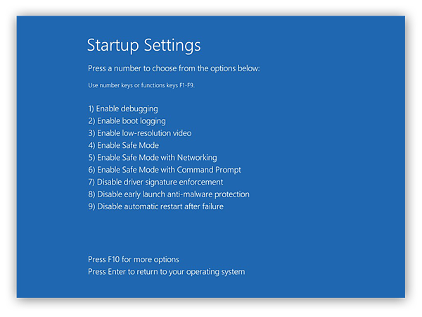 Choosing a Startup Settings troubleshooting mode in Windows 10.