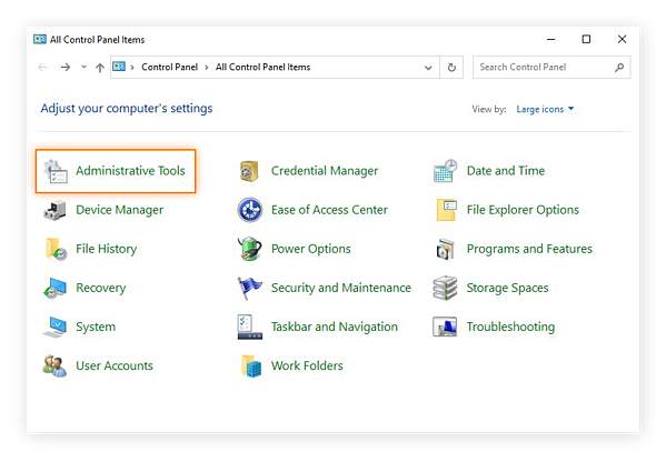Selecting the Administrative Tools category in the Control Panel of Windows 10 Safe Mode.