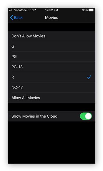 Limiting movie ratings in the Content & Restrictions menu in Screen Time for iOS 13