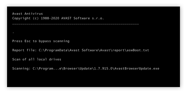 Performing a Boot-time Scan with Avast Free Antivirus in Windows 10.