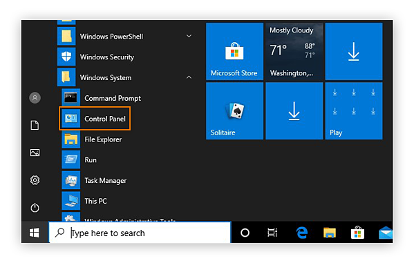 Navigating to the Control Panel via the Start menu on Windows 10.