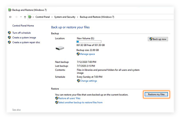 Selecting to restore files from a backup within the Control Panel of Windows 10.