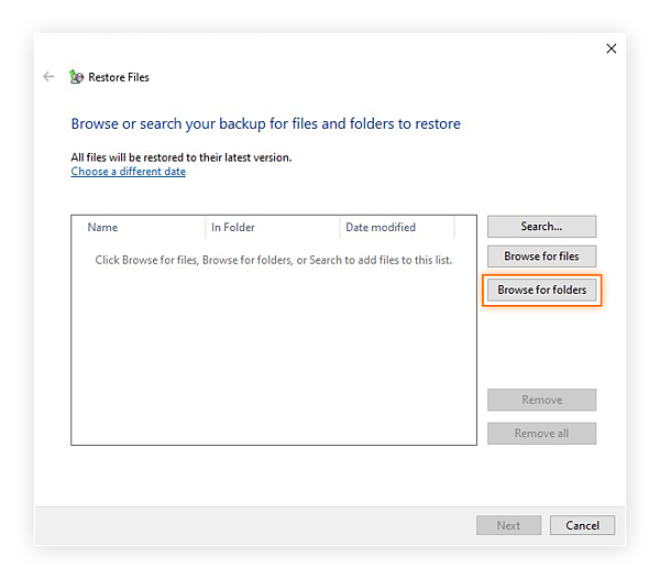Selecting the backup to restore in Windows 10.