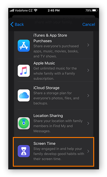 Choosing to share Screen Time data in Family Sharing for iOS 13