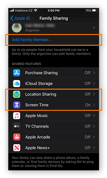 Adding family members and sharing data in Family Sharing for iOS 13