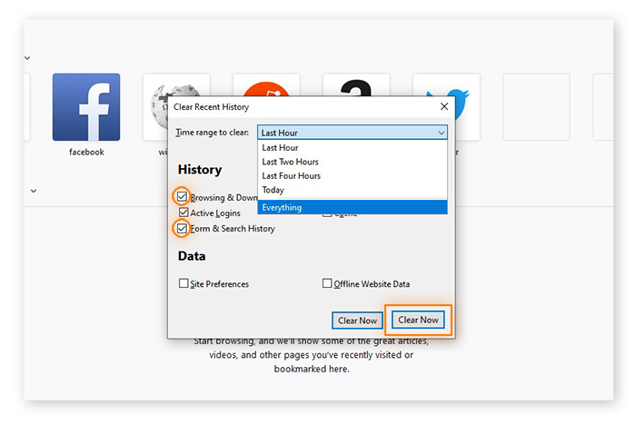 Clearing browsing and search history in Mozilla Firefox for Windows 10